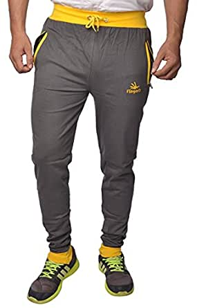 Finger's Men's Tapered Fit Joggers (TPGY_FS_Grey-Yellow)