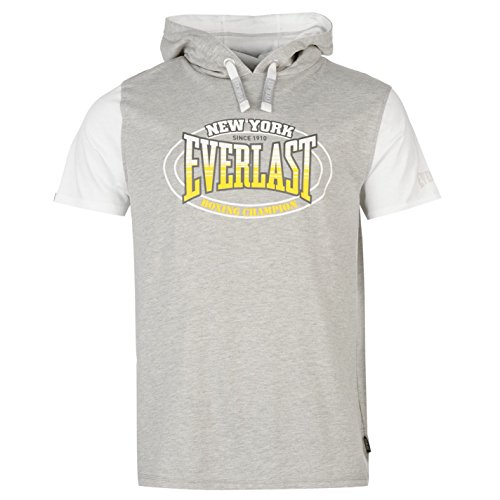 Everlast Mock Layer Herren T Shirt Kurzarm Leicht Kapuzen Tee Top Freizeit Grau Medium (Neck Top Ärmelloses Mock)