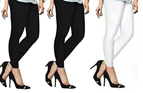 lyraa style ankle length leggings combo pack of three (two black,one white) colour