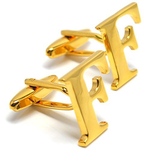 MESE London Buchstabe Name F Initiale Manschettenknöpfe 18 Karat Vergoldet in Luxus Geschenkbox (Luxus Kostüm Schmuck Uk)