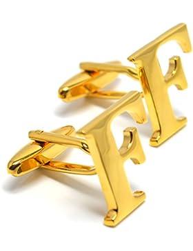 MESE London Buchstaben Alphabet Buchstaben Manschettenknöpfe Initiale - Buchstabe F Goldene