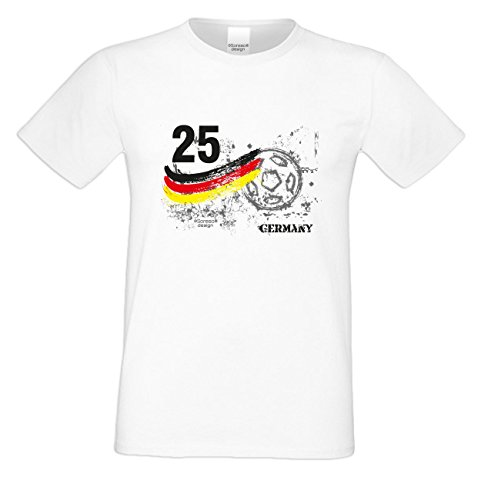 Das Fun T-Shirt zur Fußball EM 2016 in Frankreich Fußball Nr. 25 Germany Public Viewing Party Outfit Farbe: weiss Weiß
