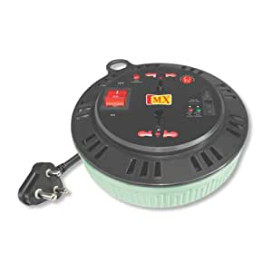 MX EXTENSION BOX 2 SOCKET UNIVERSAL - 15 AMPS. + 5 AMPS. WITH CHILD SAFTY SHUTTER NON FLAMMABLE - 3 MTRS - 3080,Multicolor