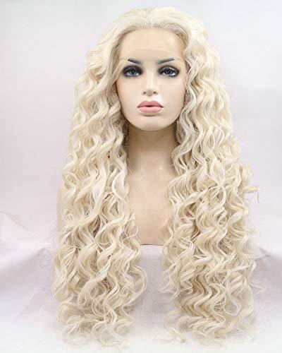 Pelucas rubias de ceniza/rubio pastel, parte lateral sin pegamento, pelucas sintéticas con encaje frontal, para mujeres, cosplay, maquillaje, arco, reina, pelo largo rizado