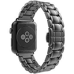 Apple Watch Watch Band - SODIAL(R)Replacement Wrist Bracelet Sport Band Strap For Apple Watch 42mm/Arc-shaped B/Black