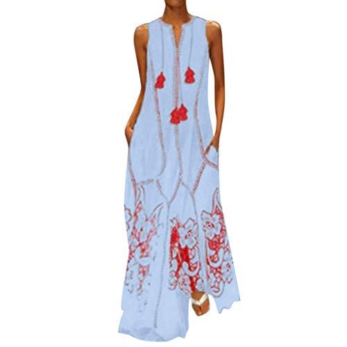 MRULIC Damen Blumen Maxikleid Bohemian A-Linie Lang Kleider Sommerkleid Partykleid V-Ausschnitt ärmellos Strandkleider Boho Lange Bohemian Kleid(B2-Blau,EU-36/CN-S)