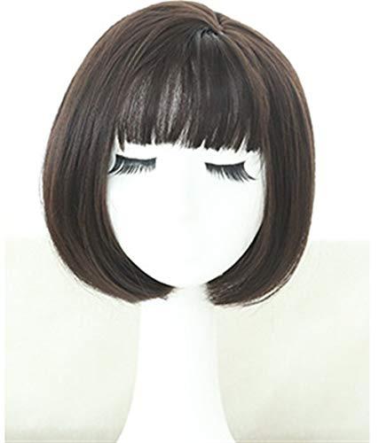 Perücke Weibliche koreanische Art Kurzes Haar Bobo Kopf koreanischen Temperament Gesicht Fluffy Inner Buckle kurze glatte Haare (Color : Brown Black) -