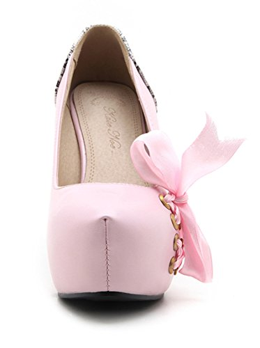 YE Damen Geschlossen High Heels Plateau Pumps mit Schleife süß Elegant Paty Moderne Schuhe Rosa