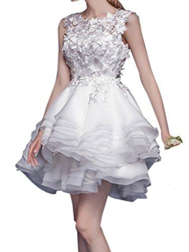 Dressvip Femme Robe de Bal Rentrée Sans Manches Multicouches Mini Blanc Appliquée Robe de Cérémonie pour Mariage Blanc
