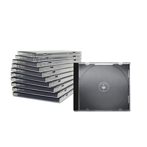 CD Jewelcase /CD Hüllen /CD Leer Hüllen für 1 CD/DVD, transparent, Tray schwarz (10mm) 100 Stück im Karton