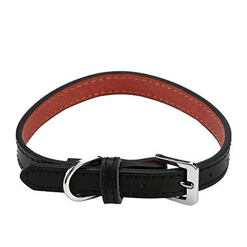 Yivise Halsband verstellbar aus 100% Leder - Komfortables Katzenhalsband für mittelgroße und kleine Hunde - verstellbares Halsband (27 cm - 57 cm) -