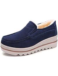 Mocassini Donna in Pelle Scamosciata Moda Comode Loafers Scarpe da Guida  Ginnastica con Zeppa 5 cm 5433e99ba36