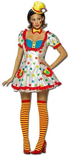 Karneval-Klamotten Clown-Kostüm Damen Frauen sexy weiß bunt gepunktet Kleid, Fliege inkl. Mini-Hut Größe ()