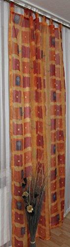 Fertigvorhang Gardine Store Schlaufenschal mit 7 Schlaufen 140 x 245 cm Orange