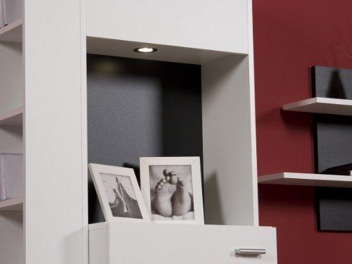 Wohnwand Weiß Schwarz – Top Design und Optik, Beleuchtung:mit Beleuchtung - 2