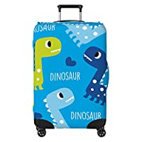 Cute Dinosaurs Kids Suitcase Cover Skin Protector Blue (Suitcase NOT Included)