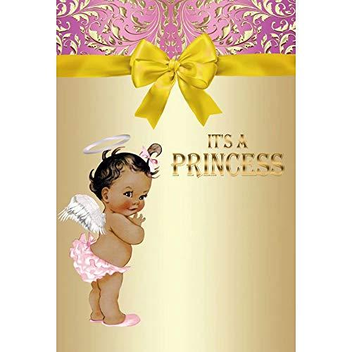Cassisy 2x3m Vinyl Fotohintergrund Baby Dusche Hintergrund Prinzessin Pink Gold Hintergrund Krawatte Blume Fotoleinwand Hintergrund für Fotostudio Requisiten Party Neugeborenes Photo Booth -