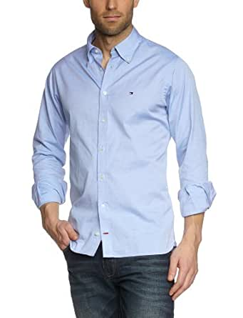 Tommy Hilfiger Herren Freizeithemd Pinpoint Oxford CF2 / 0867802707, Gr. 48 (S), Blau (460 Light Blue)