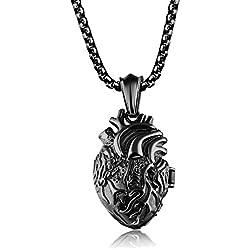 UM Joyería Personalizado Acero inoxidable Organo Anatómico Corazón Colgante Parejas Collares