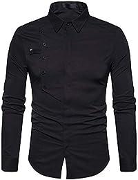 Yvelands La Camisa Superior de la Solapa de los Hombres, Viste la Camisa Superior Formal de la Blusa de los Hombres Casuales del otoño Delgados de Manga Larga, ¡liquidación
