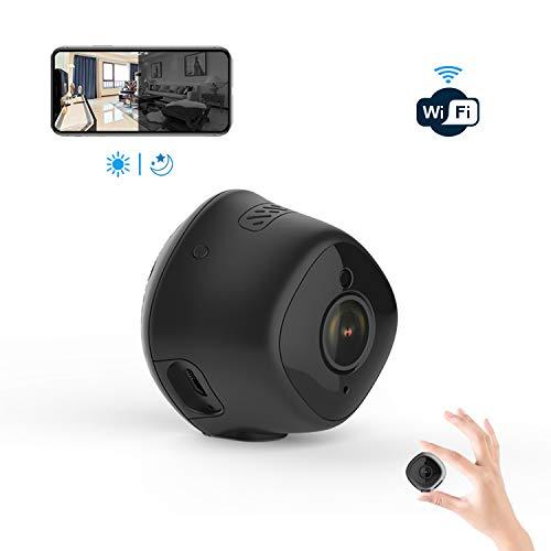 Mini Kamera, Ittiot WLAN Überwachungskamera Full HD 1080P, Wireless WiFi Kindermädchen-Kamera mit Infrarot Nachtsicht, Bewegungserkennung und Micro SD Kartenslot für Baby/Ältere/Haustiere M1 (Wireless überwachungskamera Mini)
