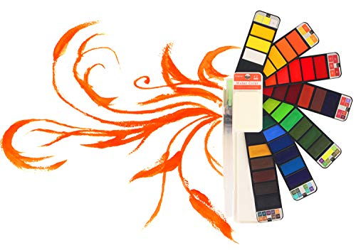 Caja de Acuarelas Sólidas Profesional 42 Pigmentos de Pintura Portátil para Viaje con Pincel