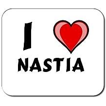 Mauspad mit Aufschrift Ich liebe Nastia (Vorname/Zuname/Spitzname)