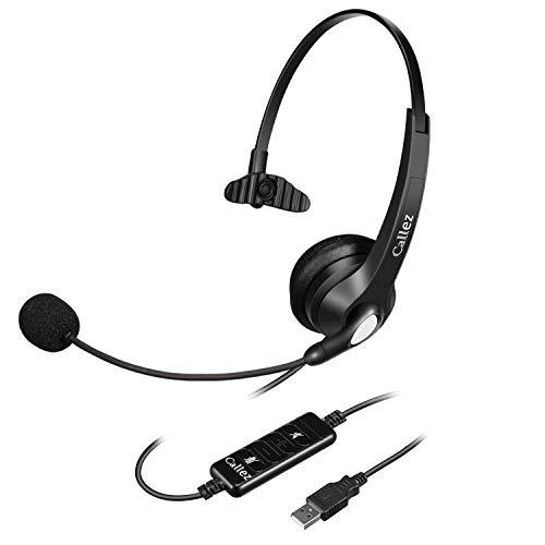 Callez Profi USB Headset Mono für Business UC Skype Lync SoftPhone Call Center, Breitband Kopfhörer mit Noise Cancelling Mikrofon und Lautstärkeregler, Kristallklarem Chat, Ultra Komfort W500U