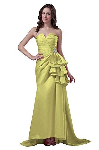 Bridal_Mall Damen Herzform Abendkleider Lang mit Strass Chiffon Prom Ballkleid Gelb