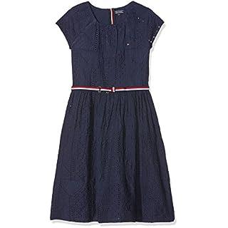 Tommy Hilfiger Mädchen Kleid AME Charming SHIFFLEY Dress S/S, Schwarz (Black Iris 002), 176 (Herstellergröße: 16)