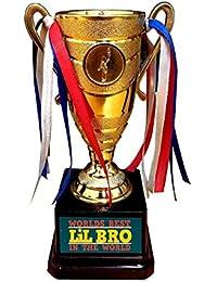 Yaya Cafe Birthday Gift for Kid Little Brother, Worlds Best Little Bro Trophy Award - Champion Golden