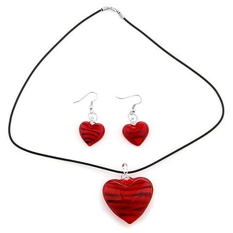 SODIAL(R) Kit Collier Boucle d'oreille Murano Verre Coeur Rouge