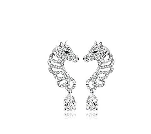 Beydodo Plaqué Or Blanc Boucles d'oreilles pour les Femmes 3-Broches Blanc AAA Oxyde de Zirconium Cheval Forme Creux