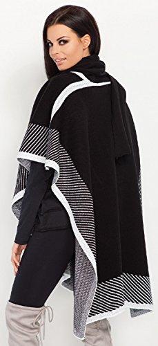 FOBYA -Cardigan mantello poncho scialle blocchi di colore disegno - donna - 470z Nero
