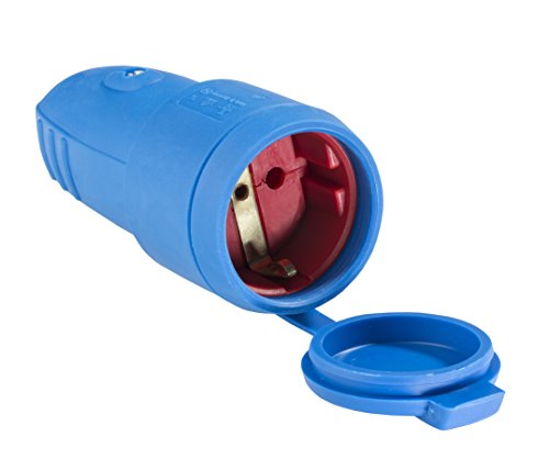 as - Schwabe Gummi-Kupplung 230 V / 16 A ohne Kabel - Schuko Kupplung mit doppeltem Schutzkontakt - Schutzkontakt-Kupplung - IP 44 für den Außenbereich geeignet - Made in Germany - blau I 62411