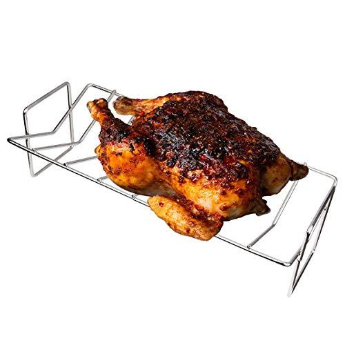 Dracarys BBQ Grill Rack BBQ Rib Rack Acero inoxidable V-Rack Dual Purpose Fit para Big Green Egg y Kamado Joe o Weber Grills (Stainless Steel V-Rack)