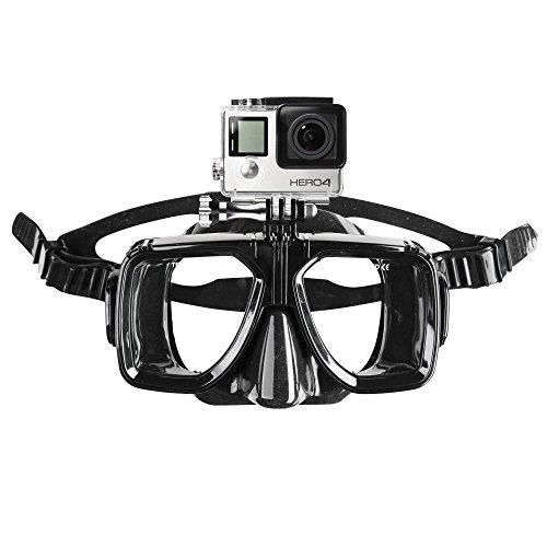 Mantona Taucherbrille mit Befestigung (für GoPro Hero 6 5 4 3+ 3 2 1, Session und andere kompatible Action Cams) (Kamera Taucher Tauchen Unterwasser)