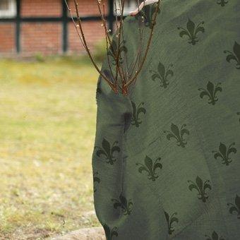 Videx-Winterschutz Jute-Gewebe, im Lilien-Design bedruckt, grün