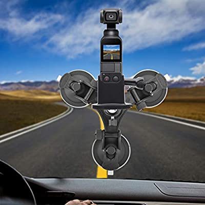 Suction Cup Car Holder Tripods Mount + Base Adapter For DJI Gimbal Handheld Camera,Vehicle Windshield Sucker Holder Driving Recorder Tripods DJI Osmo Pocket