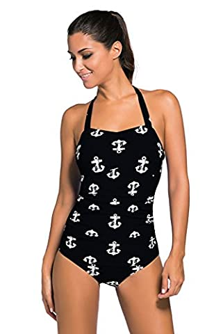 New Ladies Black & White Anchor Print 1950s Style Halter neck Swimsuit One Piece Monokini Dance wear costume Size M UK 10-12 EU