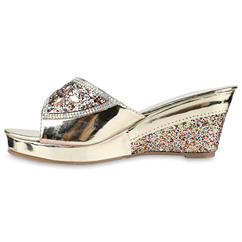 Damen Sandaletten Korkoptik Wedges Pantoletten Metallic Gold Bunt Glitzer