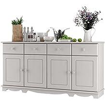 Sideboard weiß, mit 4 Türen, 4 Schubladen aus Kieferholz im Landhausstil, Holzboden, T153 x B35 (In drei Farben erhältlich; havanna, weiß, gebeizt geölt)