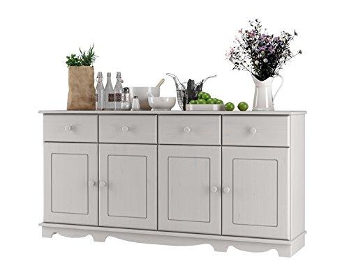 Sideboard, Holztür, Kiefer massiv, gebeizt geölt, havanna, weiß, Holzgriff, 4 Schubladen, T153 x B35 (weiß)