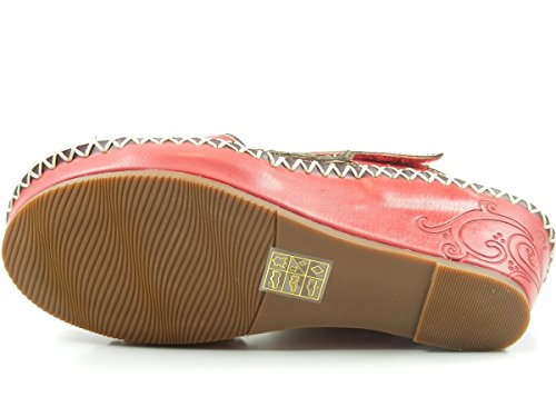 Laura Vita HJB501-2 Blake 02 Schuhe Damen Sandalen Keil Pantoletten Rot