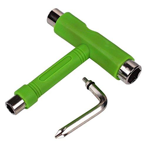 Todo en Uno Skate Tools Multi-Function y Portable Skateboard T Tool o Y Tool para Peny Board y Longboard Screwdriver (T-Verde)