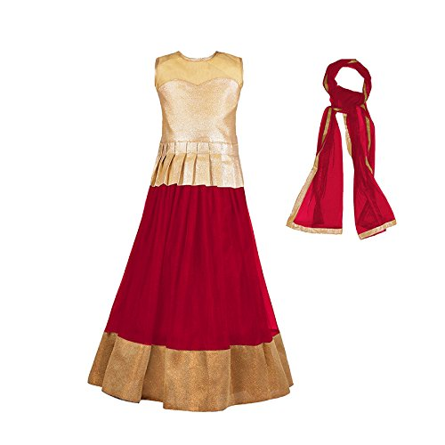 Sky World Girl's Semi-Stitched Red lehenga Choli (8-12 Yrs) (SW_575)  available at amazon for Rs.265