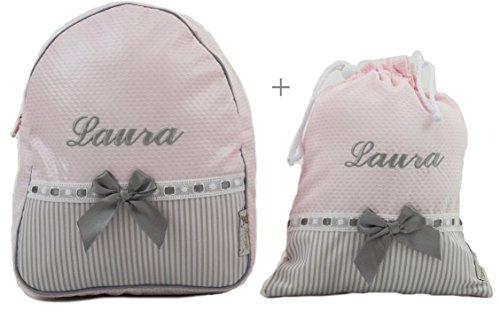 Imagen de bordaymas/conjunto guardería o colegio  + bolsa de merienda lenceras personalizadas con nombre en plastificado y tela rosa, rayas gris y pasacintas gris