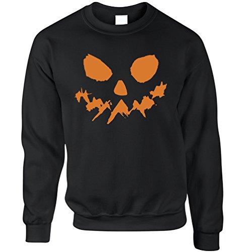 Scary Kürbis-Gesicht Halloween-Kürbislaterne Horror Geist Fantasie Unisex-Pullover (Geist Halloween Stadt)