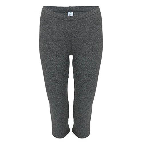 Alkato Damen Leggings 3/4 Capri Blickdicht Baumwolle Stretch, Farbe: Melange/Graphit, Größe: 46