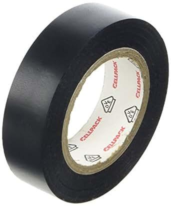 Cellpack, No. 128, dimensions 10m x 15mm x 0,15mm (longueur x largeur x épaisseur), noir, Ruban d'isolation électrique en PVC